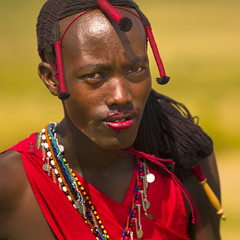 Maasai warrior after cow blood ceremony - Kenya (Eric Lafforgue) Tags: africa red portrait haircut man color colour male face dreadlocks collier hair cow necklace blood kenya c culture tribal lips tribes bead warrior afrika tradition cloth massai tribe ethnic hairstyle sang maasai tribo homme headdress afrique headwear ethnology headgear tribu pature maassai 892 maasais qunia lafforgue ethnie  qunia    kea   ethnicjewel a