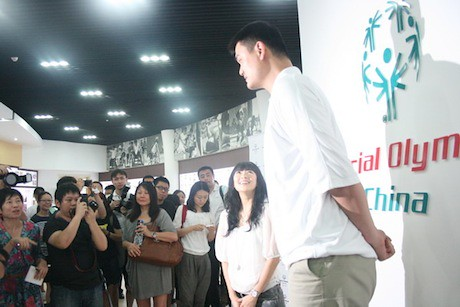 June 19, 2011 - Yao Ming with actress Zhang Ziyi answering reporters' questions at a Special Olympics send-off ceremony