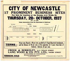 M1608A - City of Newcastle, Thursday 28 October 1937. Hunter Street West, Civic Station, Wheeler Place (without insert). (Cultural Collections, University of Newcastle) Tags: newcastle plan australia nsw newsouthwales hunterstreet civicstation hunterstreetwest hunterregion wheelerplace landsales businesssites subdivisionplans langwoodco torrenstitle creerberkeley northumberlandpermanentbuildinginvestmentlandandloansociety