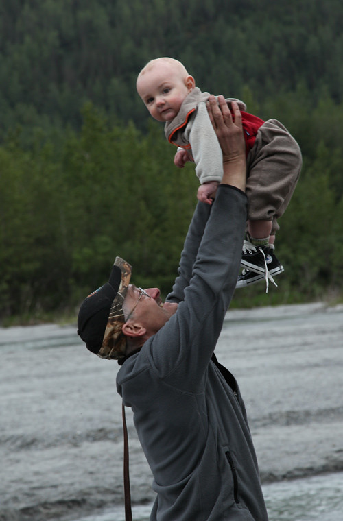 baby held up, Juneau, Alaska