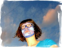 clouds in my head versus head in the clouds (vleervlinder) Tags: sky selfportrait me face clouds paint wolken moi ikke 365 grime facepaint lucht zelfportret verf gezicht bieke 365days vleervlinder