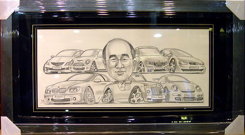 Caricature OCBC framed