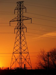 Industrial Sunset (ladybugbkt) Tags: sunset sky orange metal geotagged industrial dusk explore powerlines electricity saginawtexas kodakz712is cmwdorange top20everlasting top20texas bestoftexas