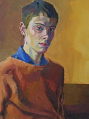 Self-Portrait (1983-84) by Stephen B Whatley (Stephen B Whatley) Tags: uk boy selfportrait painterly art painting suffolk student artist norfolk 80s norwich expressionism teenager 1983 18 1980s ipswich stephenbwhatley
