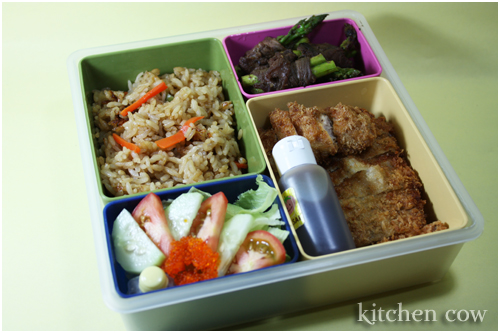 187 Tonkatsu and Kamameshi Bento