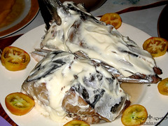 Fresh fish with mayonaise