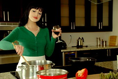 M r s . S m i t h (monsters.monsters) Tags: woman cooking kitchen glass female wine content husband pearls stove asparagus murder renovation housewife cardigan bellpepper stirring kubrickslook