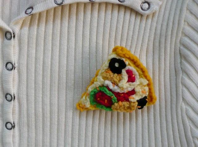 Crocheted Pizza Brooch/Pin
