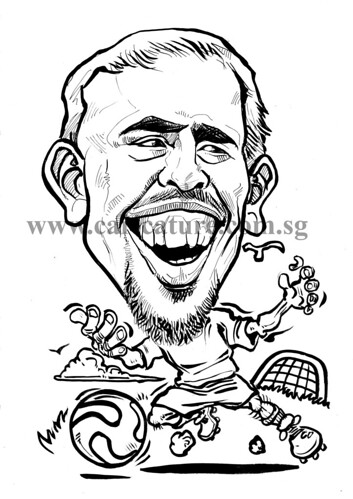 Caricature of Franck Ribery ink watermark