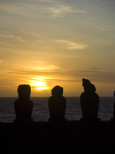 Puesta de sol en el Ahu de Tahai