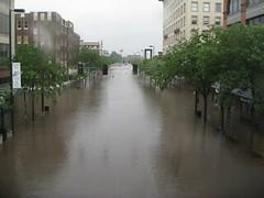 3rd Ave Cedar Rapids from Skywalk - Iowa flood