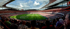 Arsenal FC - The Emirates Stadium (The Man From Beaumonte) Tags: people panorama london sport football arsenal crowds emiratesstadium throughtheturnstiles