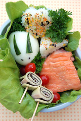 Bunny bento (Food, Fash, Fit) Tags: rabbit bunny cheese lunch japanese ham onigiri bento teriyakisalmon spiralrolls