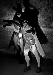 Spotlight on Batman and Robin B&W (Decepticreep) Tags: robin batman dccomics brucewayne adamwest dynamicduo bobkane capedcrusaders dickgrayson burtward gothamguardians