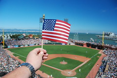 72/365 - patriotic (Nicky Deez) Tags: sf holiday field america la los nikon san francisco unitedstates angeles flag watch fourthofjuly giants 365 dodgers 18200mm tagwhore 365days attpark d80