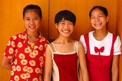 Three Girls (Life in AsiaNZ) Tags: china portraits canon children child visit powershot orphanage orphans disabled government nanning handicapped guangxi g9 canong9 lifeinnanning flickrgiants