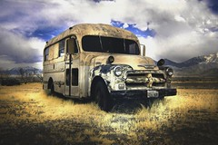 The rustic, short bus (infrared). (coulombic) Tags: old abandoned photoshop ir utah rustic infrared canonrebel junkyard hdr digitalinfrared shortbus infraredfilter infraredcamera gabefarnsworth maxmaxcom infraredlight canoninfrared converteddigitalcamera infrareddigitalphotography utahinfrared coulombic utahir ldpllc