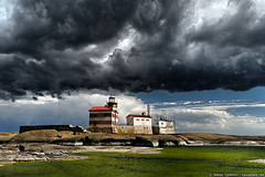 Dark clouds above Märket lighthouse