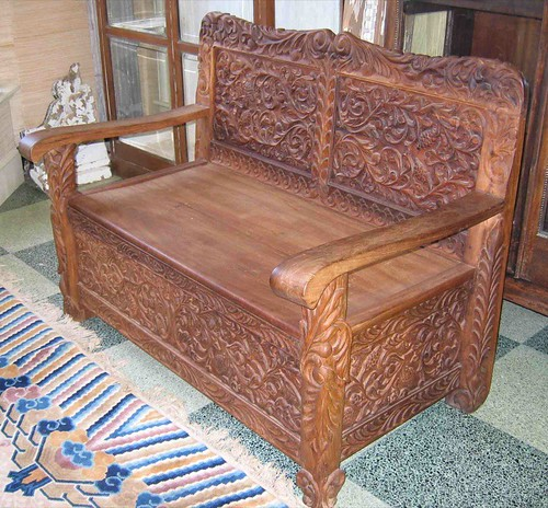 Ornately Carved Indonesian Wood Bench