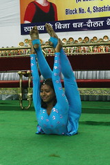 A perfect legs up bow pose (YY) Tags: people india yoga pose dance performance competition asana jamshedpur