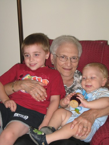 Boys with their great-grandmother - Mimi