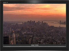 New York Sunset (Mike G. K.) Tags: city nyc sunset sky orange ny newyork skyline cityscape view manhattan frame empirestatebuidling platinumphoto sonybravialcd