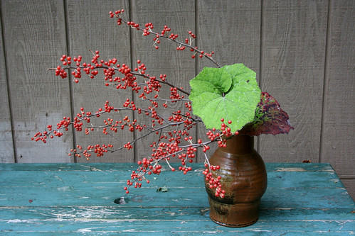 Ikebana-Berries and Leaves
