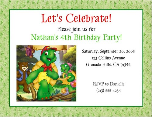 Franklin the Turtle Birthday Party Ideas and Supplies