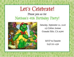Franklin the Turtle Invitations (Kid's Birthday Parties) Tags: birthday party franklin turtle custom supplies invitations kidsparty themeparty kidsbirthday partytheme franklintheturtle personalizedinvitations