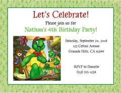 Franklin the Turtle Invitations (Kid's Birthday Parties) Tags: birthday party franklin turtle custom supplies invitations kidsparty themeparty kidsbirthday partytheme franklintheturtle personalizedinvitations