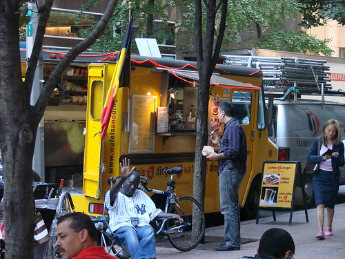 Wafels and Dinges Truck parked in the Treats Truck usual spot on 45th