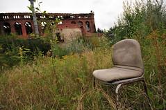 Mein rechter, rechter Platz ist leer. (tonal decay) Tags: abandoned grey chair ruin grau ruine creativecommons stuhl verlassen backstein verfall heidenau einsturzgefahr