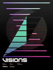 Visions Poster (_Untitled-1) Tags: lines poster typography visions triangle colorful osaka network dots custom
