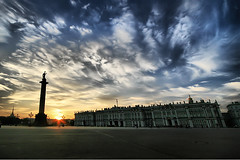 Palace Square (` Toshio ') Tags: sunset sky people sun color men art history museum architecture clouds buildings stpetersburg person women colorful europe russia paintings perspective silhouettes saintpetersburg hermitage winterpalace hdr palacesquare alexandercolumn toshio catherinethegreat hermitagemuseum mywinners abigfave palaceembankment platinumphoto anawesomeshot aplusphoto rastrellisbaroquewinterpalace