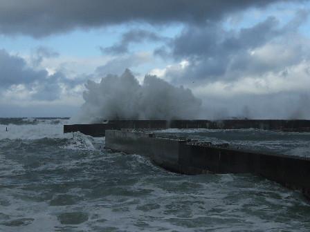 桑川港突堤の波