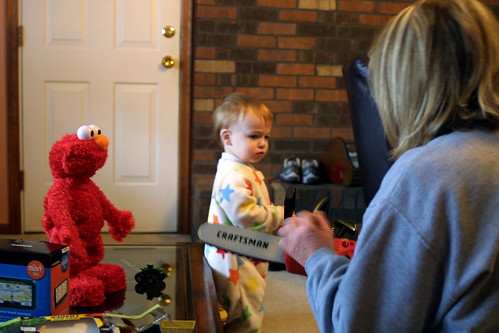 playing with elmo