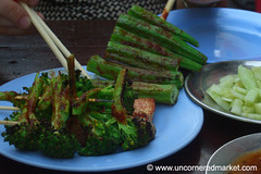 Grilled Okra and Broccoli