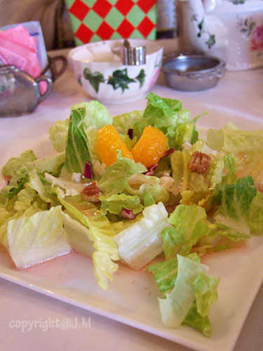 Lettuce, pecans, blue cheese, mandarin orange with vinaigrette dressing