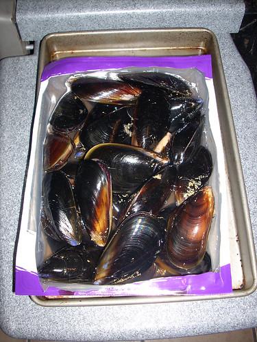 Mussels in an open package