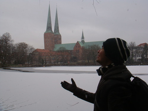 Dom and a half frozen lake