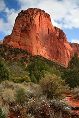 Lovely shot of a Navaho Sandstone peak in the Kolob Canyon section of Zion National Park