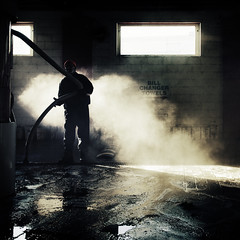 (uwajedi) Tags: winter light sun mist toronto ontario canada man reflection brick window water sign wall puddle steam hose toque carwash pail vaccuum thebeaches
