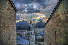 The Blue Mosque from Hagia Sophia (lachance) Tags: sunset architecture turkey view istanbul mosque cami hdr byzantine thebluemosque sultanahmedmosque