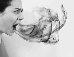 Day 273/365: Foul Mouth (Olga_Greece) Tags: bw selfportrait photomanipulation photoshop smoke explore sp rave 365 tear frustration imagemanipulation 366 project365 fgr 365days explored frontpageexplore reflectyourworld