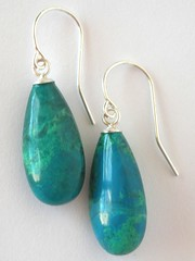 Polished chrysocolla and sterling earrings