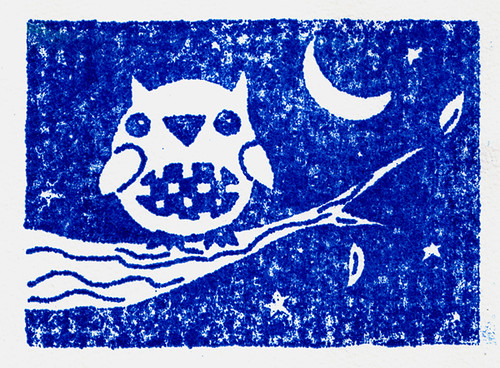 Our first Gocco prints- My blue owl