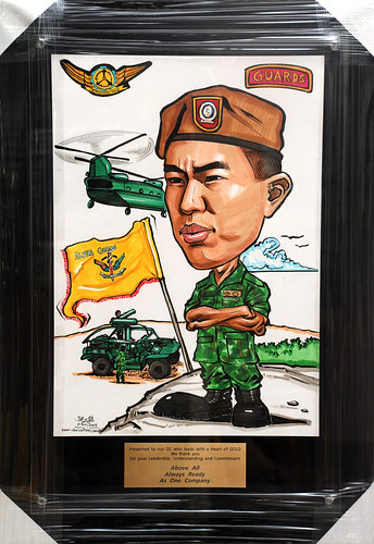 Caricature for Singapore Armed Forces in black acrylic frame