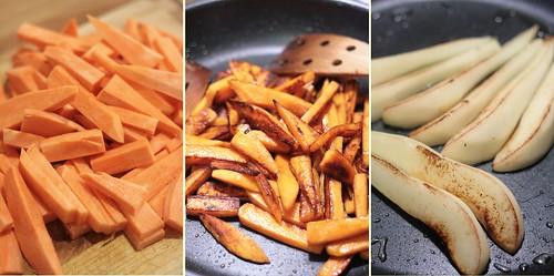 Patates douces & quartiers de poires rôtis
