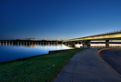 Canberra Lake Sunset (Sam Ili) Tags: bridge light sunset sky lake color night canon australia explore national canberra soe griffin hdr burley photomatix bej 450d canberrasunset redbubble bestofaustralia dazzlingshots ourmasterpieces canon1022mm3545