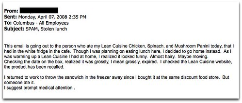 office lunch thieves: always despicable, and in this case — gullible, too.